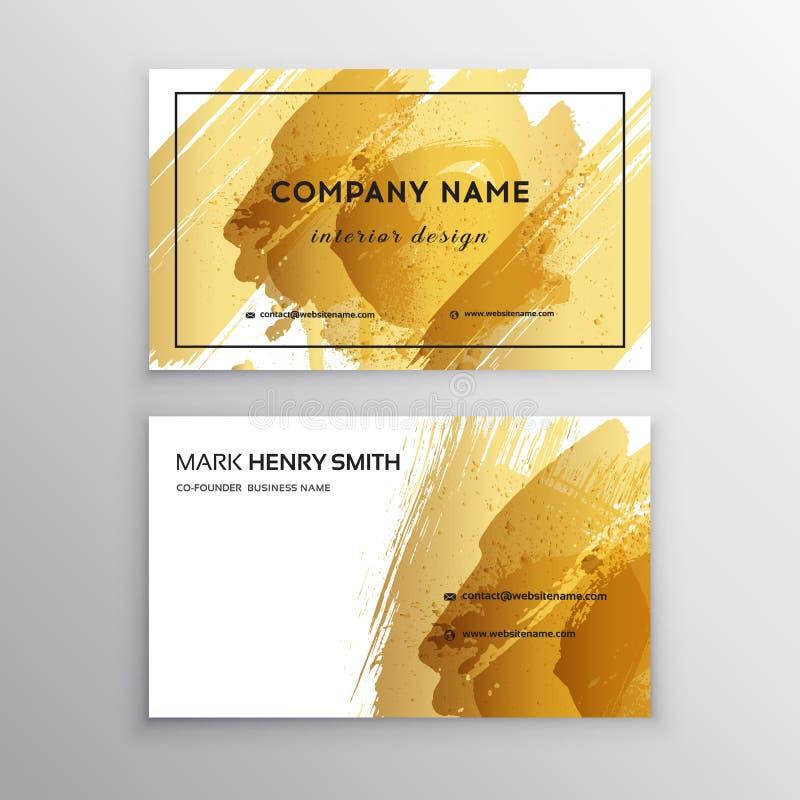 Uppsättning av svart och det guld- designaffärskortet moderna abstrakt bakgrunder Brush slår royaltyfri illustrationer