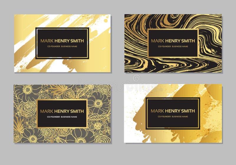 Uppsättning av svart och det guld- designaffärskortet moderna abstrakt bakgrunder Brush slår vektor illustrationer