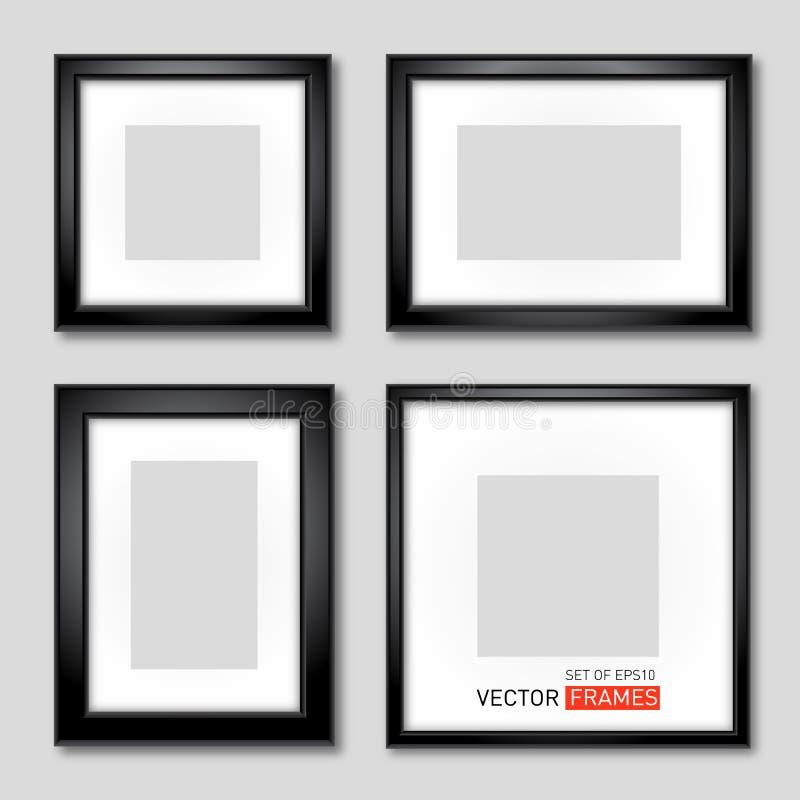 Uppsättning av svarta bildramar vektor illustrationer
