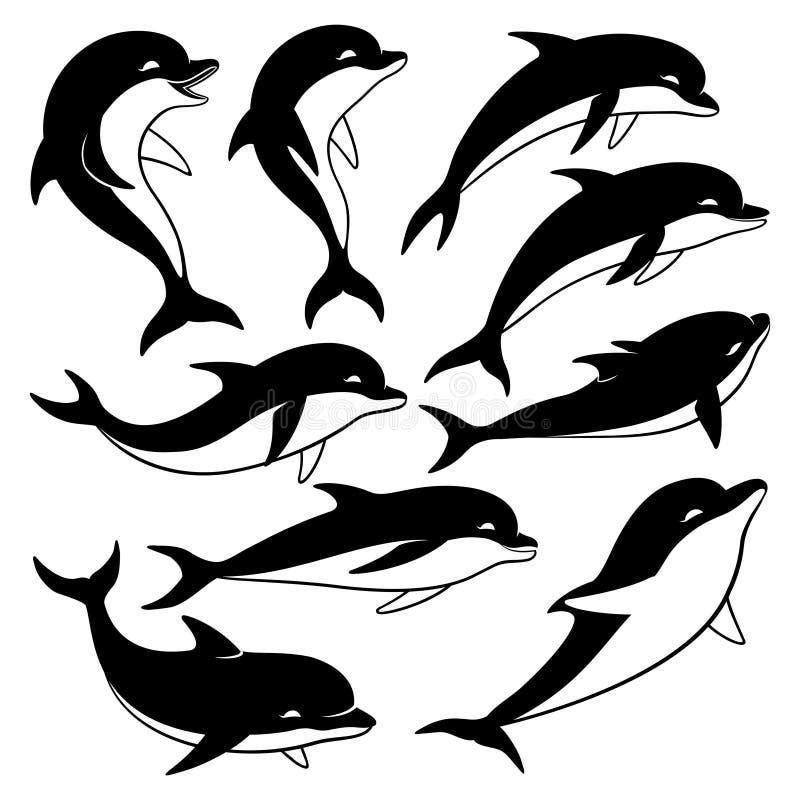 Uppsättning av svarta delfin royaltyfri illustrationer