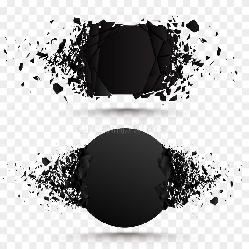 Uppsättning av svarta explosionbaner Fyrkantiga och cirkelförstörelseformer vektor illustrationer
