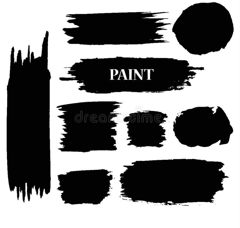 Uppsättning av svarta fläckar för färgpulvervektormålarfärg stock illustrationer