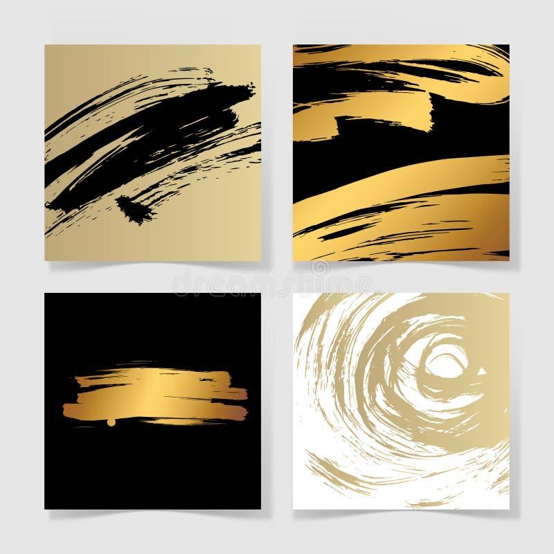 Uppsättning av svarta fyra och den guld- modellen för fyrkant för färgpulverborstegrunge royaltyfri illustrationer