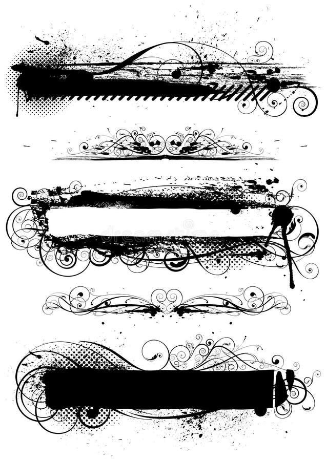 Uppsättning av svarta grungebackgraunds vektor illustrationer