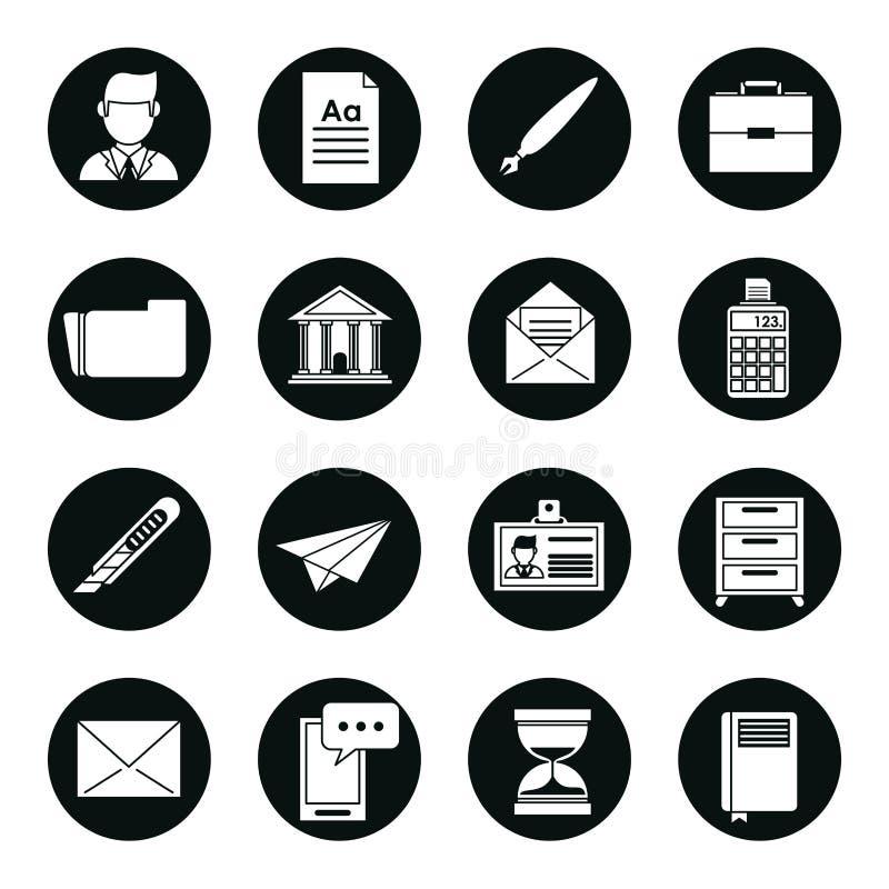 Uppsättning av svarta konturer av affärssymboler i runda ramar royaltyfri illustrationer