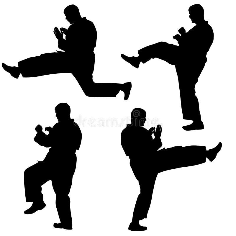 Uppsättning av svarta konturer av karate. Sportvektor stock illustrationer
