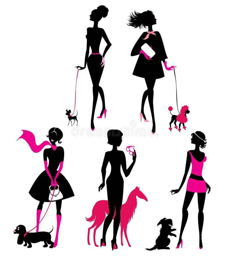 Uppsättning av svarta konturer av trendiga flickor med deras husdjur royaltyfri illustrationer