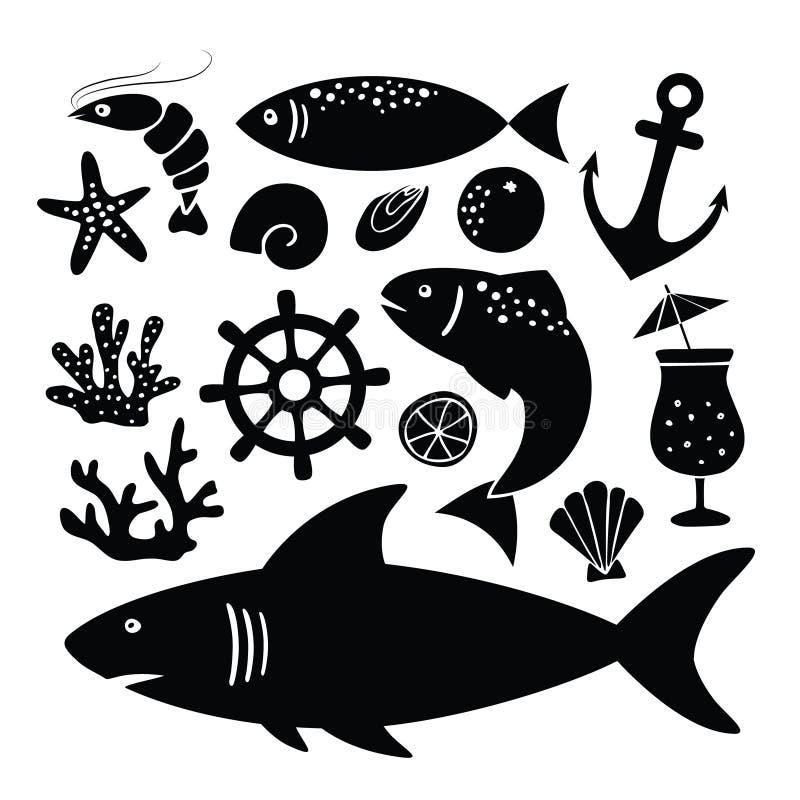 Uppsättning av svarta konturer av hajen, fisk, räka, skal och andra havsdjur och objektsymboler som isoleras på vit stock illustrationer
