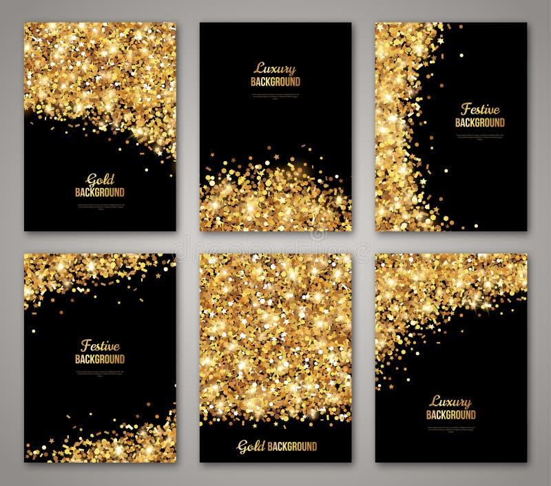 Uppsättning av svarta och guld- baner royaltyfri illustrationer