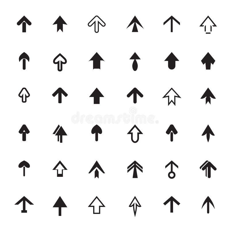 Uppsättning av svarta pilar Symbolsmaterielvektor stock illustrationer