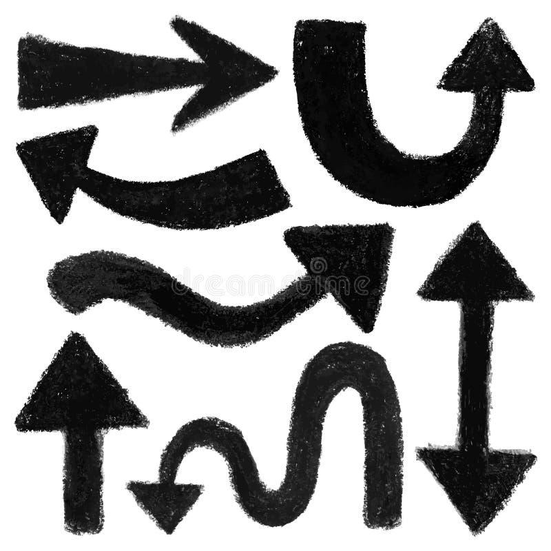 Uppsättning av svarta pilformer vektor illustrationer