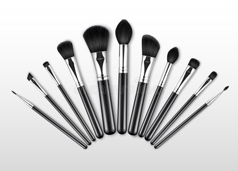 Uppsättning av svarta rena yrkesmässiga borstar för krön för skugga för öga för rodnad för makeuptäckstiftpulver med svarta handt vektor illustrationer