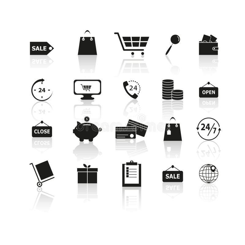 Uppsättning av svarta shoppingreflexionssymboler stock illustrationer