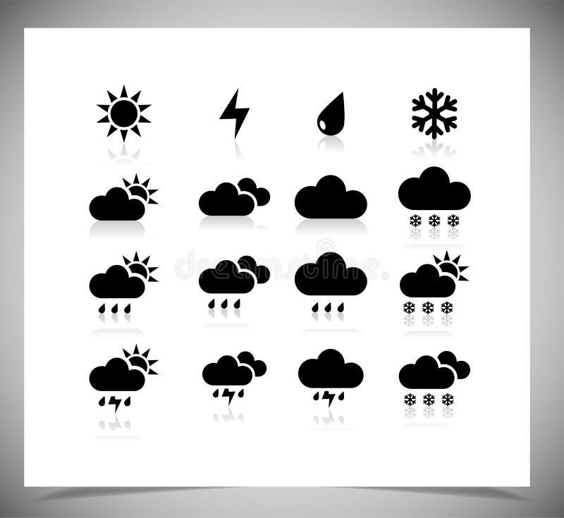 Uppsättning av svarta vädersymboler. royaltyfri foto