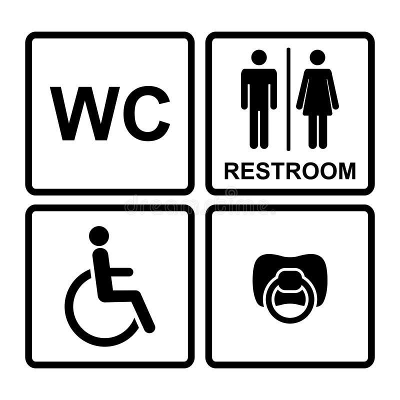 Uppsättning av svarta wc-symboler på vit bakgrund i ram royaltyfri illustrationer