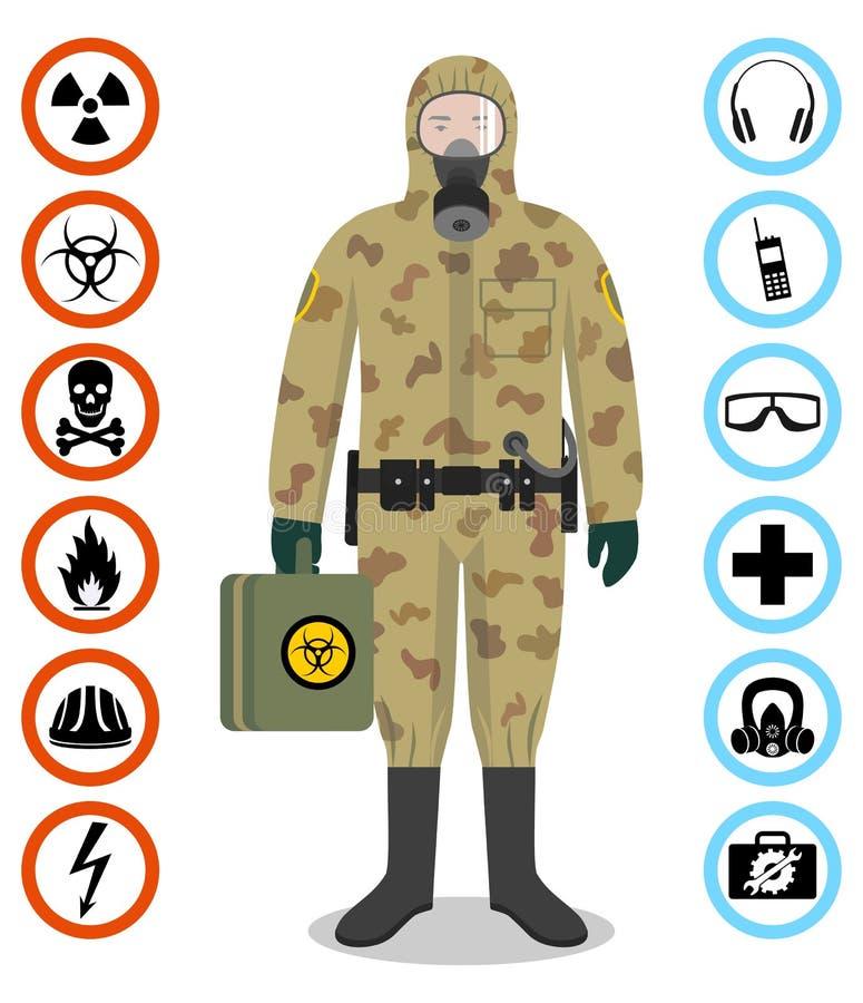 Uppsättning av svartbultar och skruv-muttrar på grafpapper med diagrammet Detaljerad illustration av soldaten i skyddande dräkt f royaltyfri illustrationer