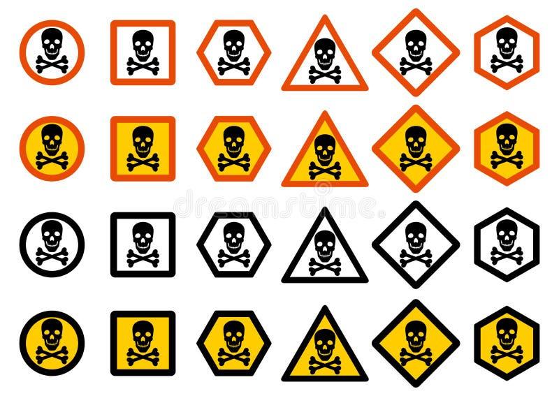 Uppsättning av svartbultar och skruv-muttrar på grafpapper med diagrammet Uppsättning av olikt varningstecken: kemikalie radioakt stock illustrationer