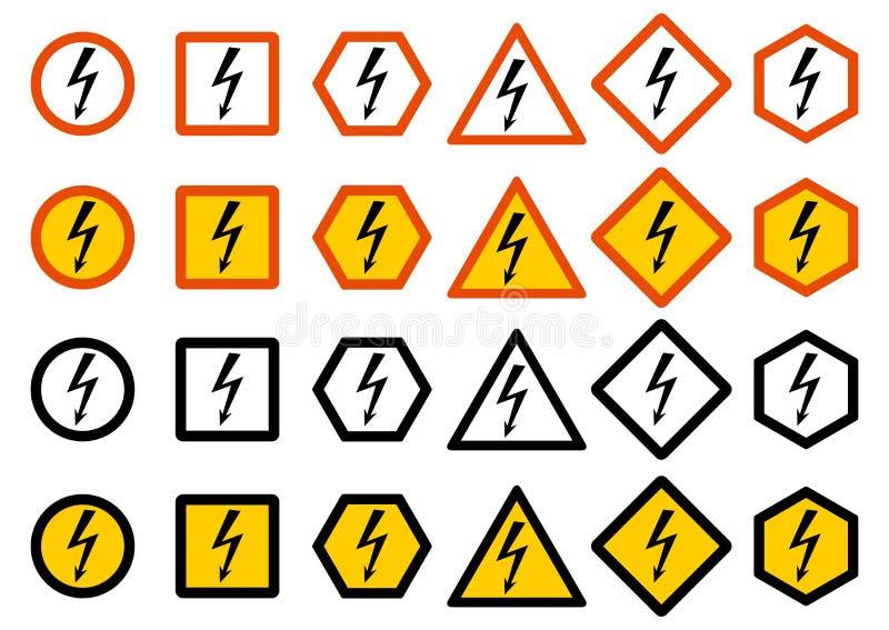 Uppsättning av svartbultar och skruv-muttrar på grafpapper med diagrammet Uppsättning av olikt varningstecken: kemikalie radioakt vektor illustrationer