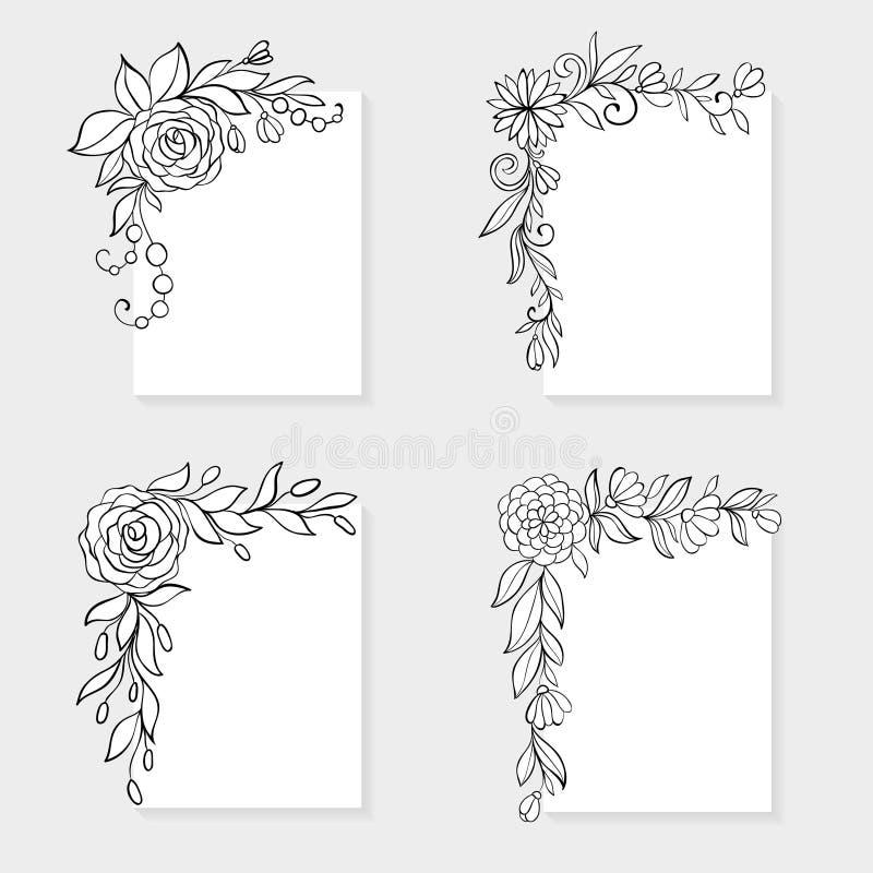 Uppsättning av svartvit hand drog blom- gränser för hörn vektor illustrationer
