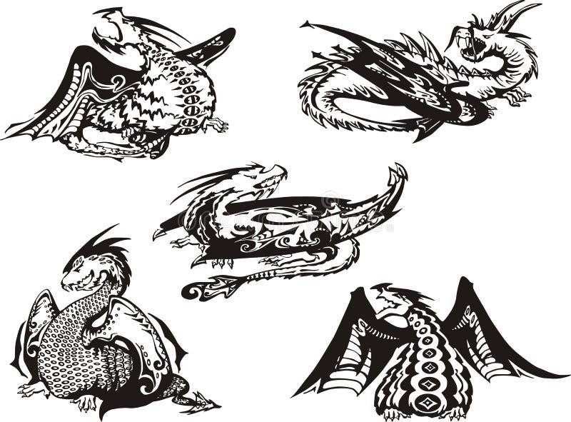 Uppsättning av svartvita drakar stock illustrationer
