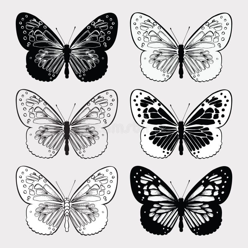 Uppsättning av svartvita fjärilar, hand-teckning Vektorillustr royaltyfri illustrationer