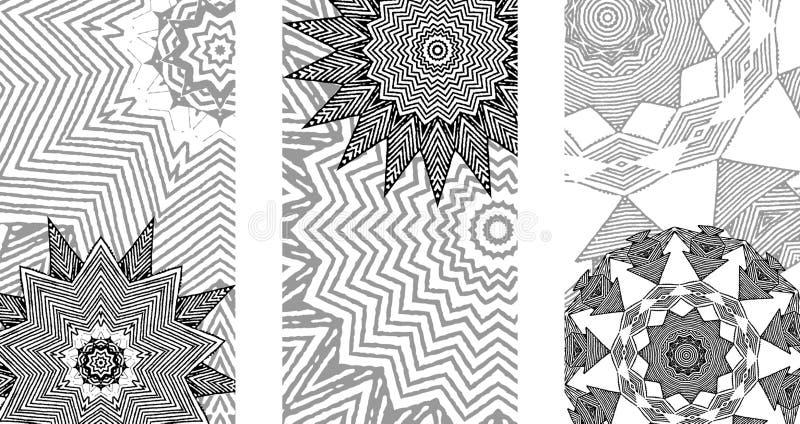 Uppsättning av svartvita kort royaltyfri illustrationer