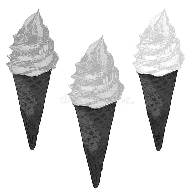 Uppsättning av svartvita menysymboler, tappning, VEKTORillustrationer Icecreamkotte stock illustrationer