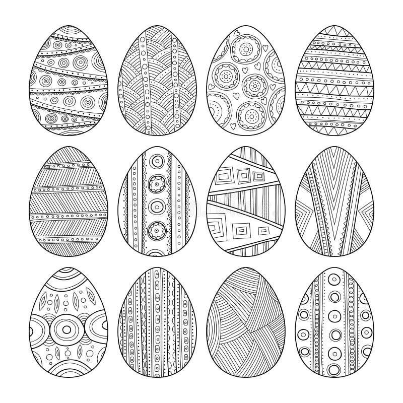 Uppsättning av svartvita påskägg för färgläggningbok vektor illustrationer