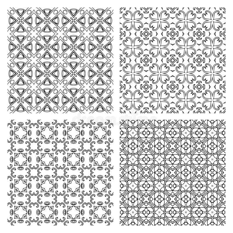 Uppsättning av svartvita sömlösa modeller Monokrom vektorillustration vektor illustrationer