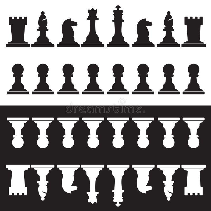 Uppsättning av svartvita schackstycken stock illustrationer