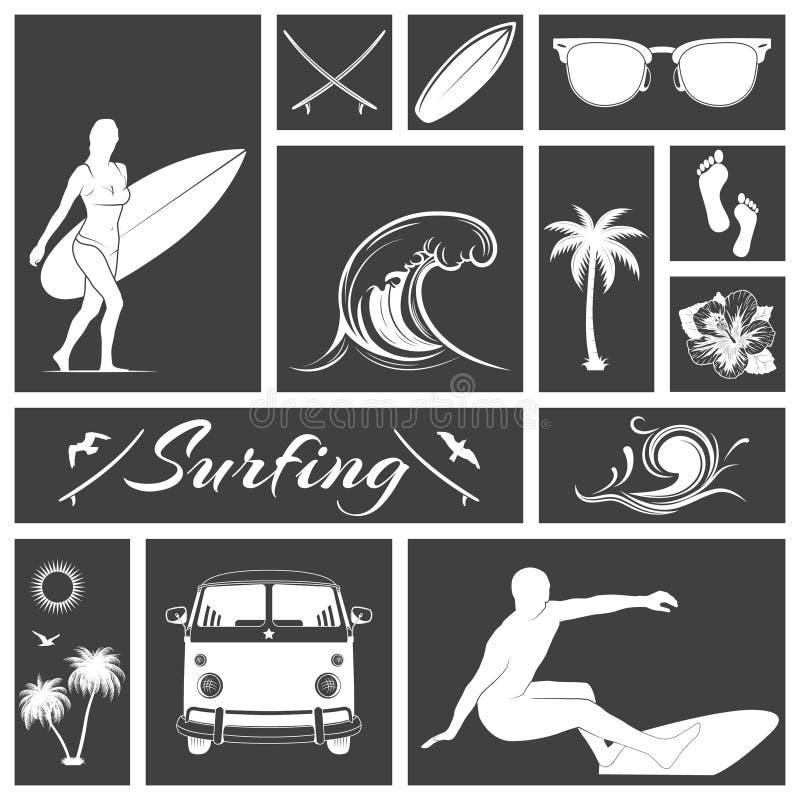 Uppsättning av svartvita surfa symboler royaltyfri illustrationer