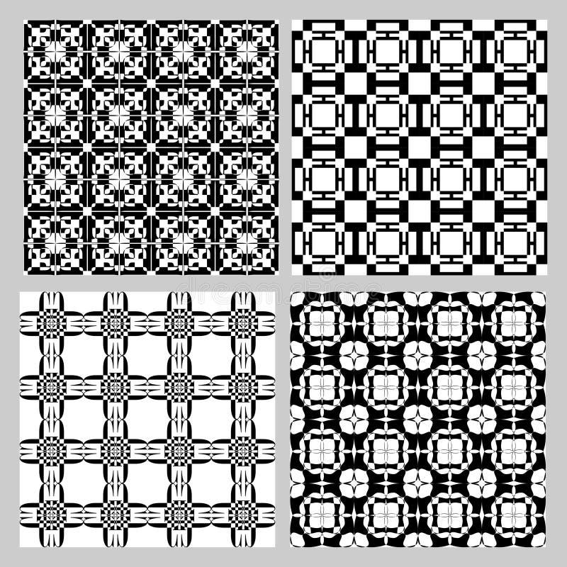 Uppsättning av svartvita tappningmodeller Dekorativ tegelplattasamling i art décostil Repeatable geometrisk prydnad royaltyfri illustrationer