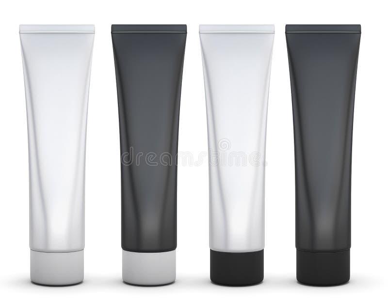 Uppsättning av svartvitt emballage för kräm vektor illustrationer