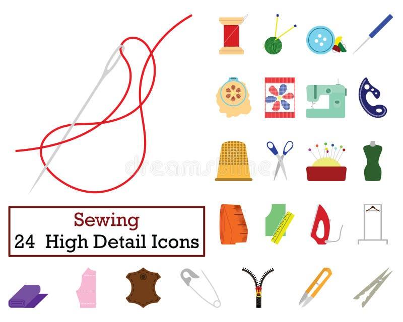 Uppsättning av 24 sy symboler stock illustrationer