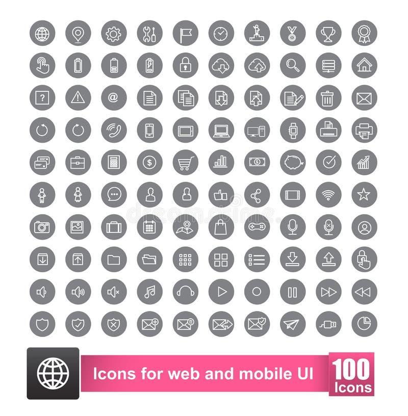 Uppsättning av symbol 100 med bakgrund för rengöringsduk och smart telefon för mobil stock illustrationer