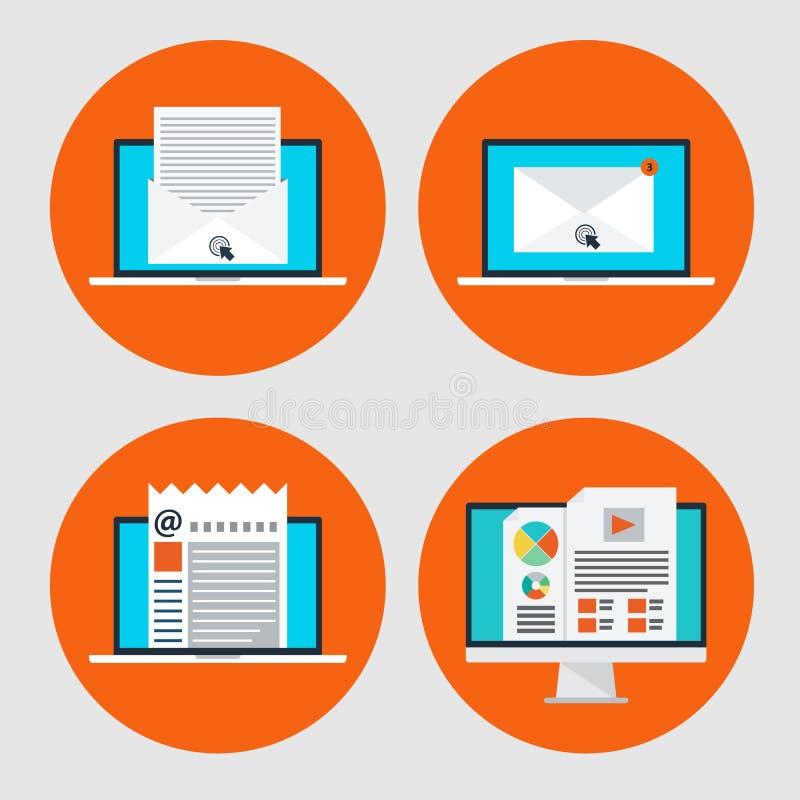 Uppsättning av symbolen av begreppsemailmarknadsföringen, online-nyheterna i plan stil stock illustrationer