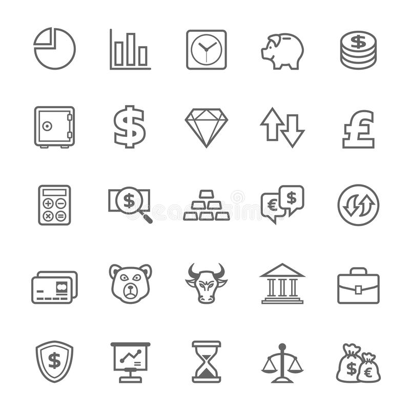 Uppsättning av symbolen för för översiktsslaglängdfinans och materiel vektor illustrationer