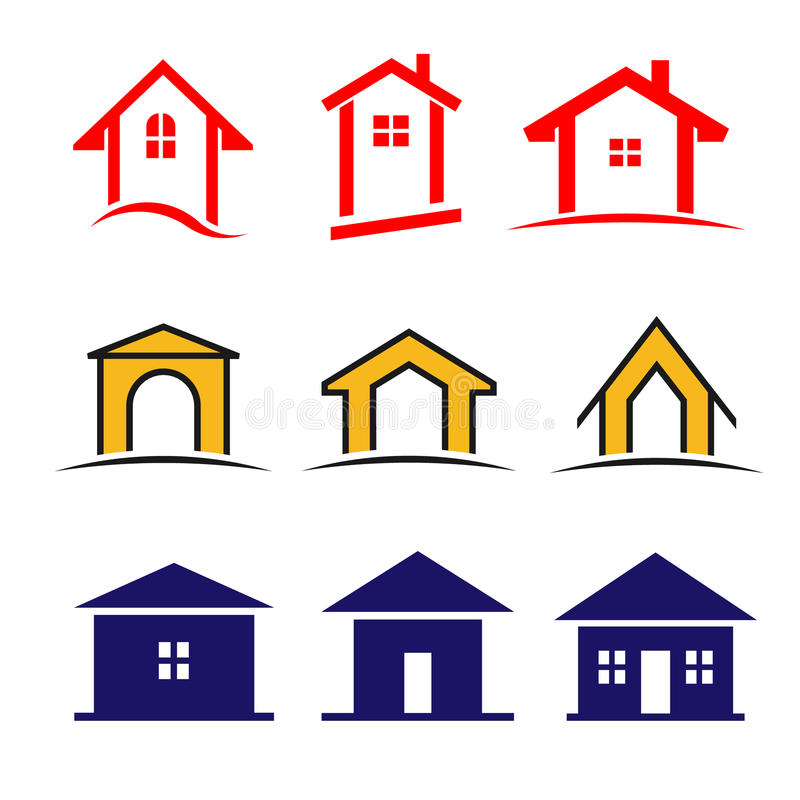 Uppsättning av symbolen för 9 hus stock illustrationer