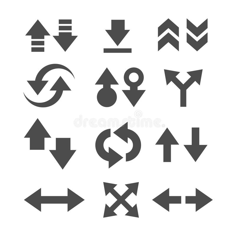 Uppsättning av symbolen för vektor för pilriktningsuppsättning royaltyfri fotografi