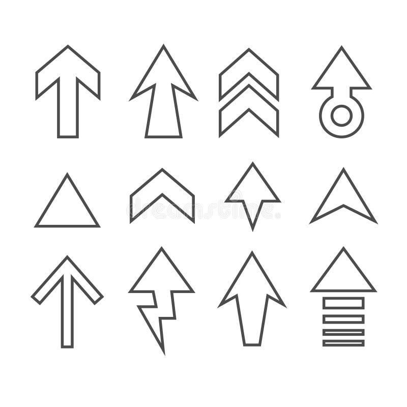 Uppsättning av symbolen för vektor för pilriktningsuppsättning royaltyfri bild