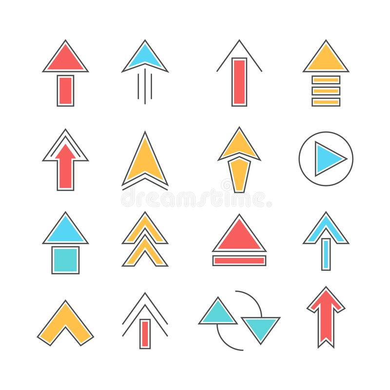 Uppsättning av symbolen för vektor för pilriktningsuppsättning arkivfoton