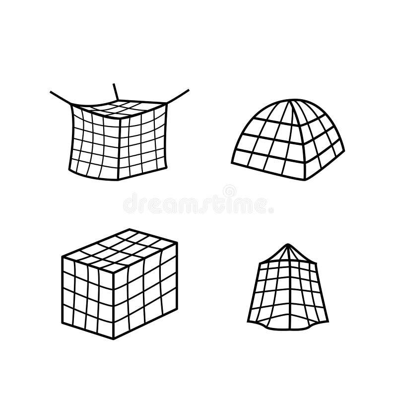 Uppsättning av symbolen och symbolet för stor myggasäng den netto stock illustrationer