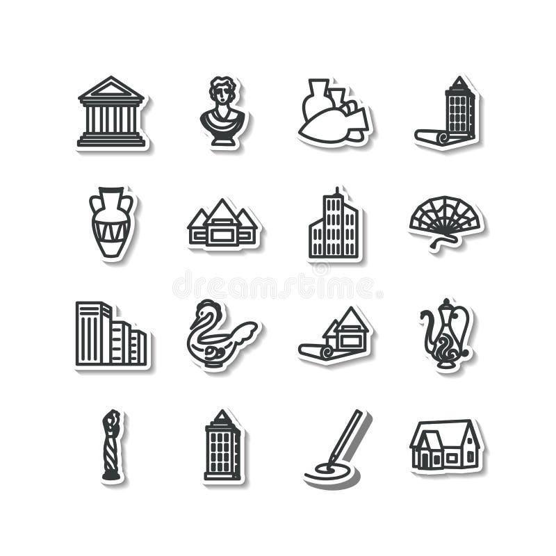 Uppsättning av symboler - arkitektur, skulptur, dekorativa konster royaltyfri illustrationer