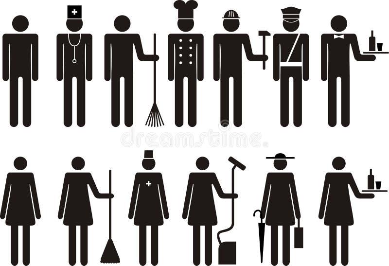 Uppsättning av symboler av diagramet folkjobbockupation vektor illustrationer