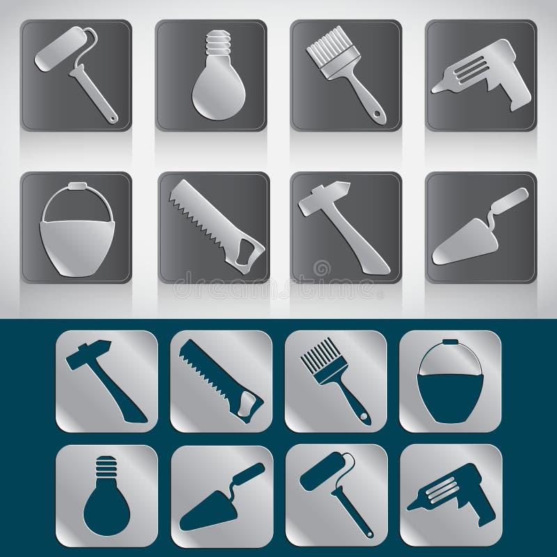 Uppsättning av symboler av hjälpmedel för huskonstruktion eller reparation stock illustrationer
