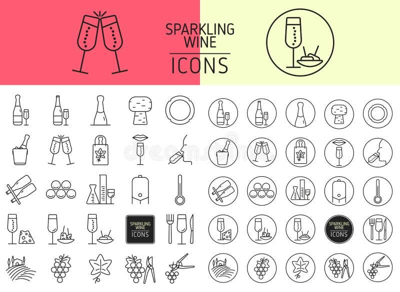 Uppsättning av symboler av mousserande vin stock illustrationer