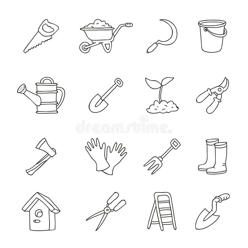 Uppsättning av symboler av trädgårds- hjälpmedel stock illustrationer