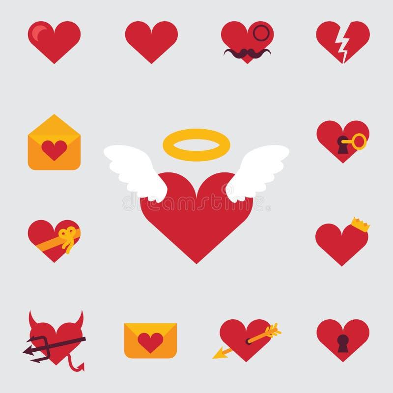 Uppsättning av symboler eller festligt inbjudankort för Valentine Day som presenterar de teckenförälskelsen, hjärtorna, änglarna  vektor illustrationer