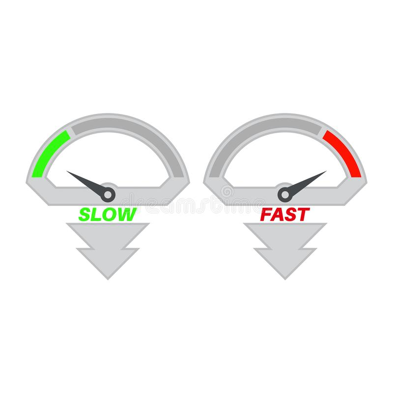 Uppsättning av symboler av en hastighetsmätare royaltyfri illustrationer