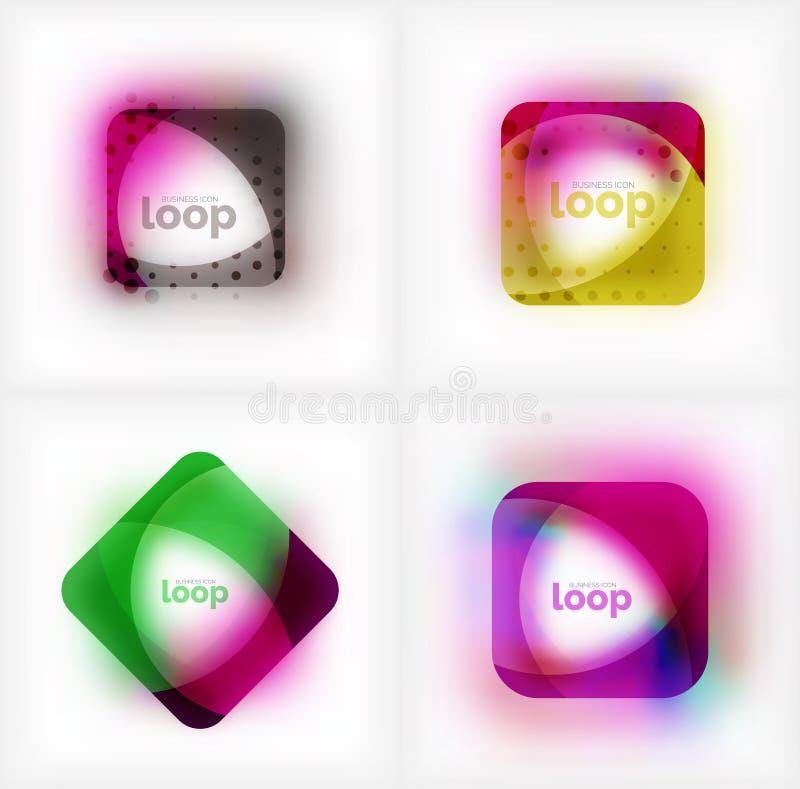 Uppsättning av symboler för affär för vektorfyrkantögla, geometriska symboler som skapas av vågor, med suddig skugga vektor illustrationer